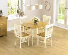 Genoa 100cm Drop Leaf Extending Dining Table Set with Chairs