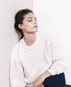 dewy skin & a chunky white cable knit sweater #style #fashion