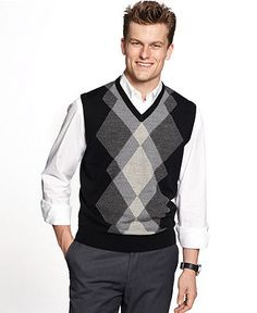 Geoffrey Beene Vest, Argyle Sweater Vest - Mens Sweaters - Macy's  Patterned vest goes over solid collared shirt.