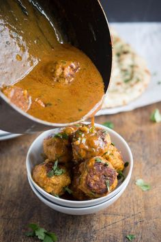 Thai Red Curry Chicken Meatballs. A quick weeknight dinner that takes less than 30 minutes to make. | chefsavvy.com #recipe #chicken #Thai #curry