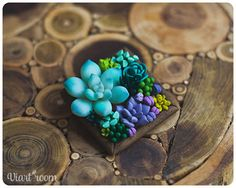 Succulent brooch - Polymer clay brooch - Wooden brooch with succulents…