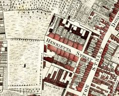 A detail of Henrietta Street from John Rocque's Map of courtesy of Dublin City Libraries and Archives What an amazing mind he must have had He was of French Huguenot Descent City Library, Dublin City, Rococo Style, Shades Of Red, Hand Coloring, Street, Libraries, Ireland, Arch