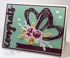 Love & Congrats - SU -  Jar of Love Bundle, Sunshine Wishes Thinlets Dies, uses Rich Razzleberry, Mint Macaron and Delightful Dijon inks on a panel of Whisper White, then die cut