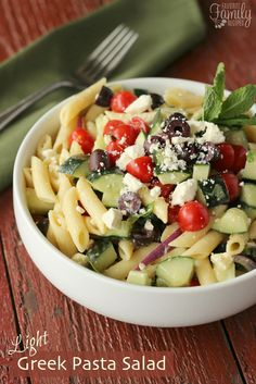 This Light Greek Pasta Salad is full of flavor and low in fat and calories.