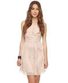 $29.80 Lace Overlay Swing Dress | FOREVER21. Available in Small, medium & large. Also might be in stores.  Returns accepted within 30 days.