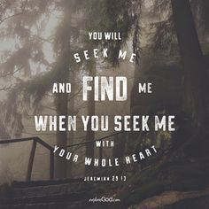 You will seek me and find me when you seek me with all your heart. - Jeremiah 29:13