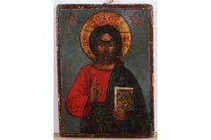 Icon, Christus Pantokratoricoon (overcontroller) Russische Volkskunst. 13,5x19cm. Icon, Christ Pa