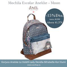 """Sigue disfrutando de nuestras rebajas y consigue la Mochila Escolar Anekke de la nueva colección """"Moon"""", ahora con un 15% de descuento!!!  Con compartimento principal con cierre de cremallera, un bolsillo delantero para llevar tus cosas más importantes a mano y un asa corta para llevarla en la mano.  @sueshop_es #anekke #mochila #escolar #descuento #rebajas #ofertas"""