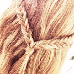 ponytail design with fishtail braid