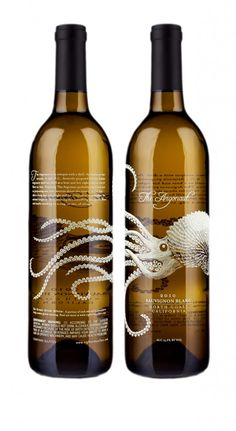 EIGHT ARMS, THE ARGONAUT  There is something unexpected about an octopus wrapping around a wine bottle. A clear brown bottle with the label screen printed in white creates a stunning execution here. The artwork wraps the bottle, so we can see through to the far reaching tentacles of the octopus on the reverse side, achieving a nice sense of depth.
