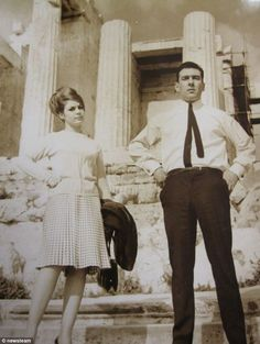 The notorious British gangster Reggie Kray and wife Frances at the Acropolis of Athens, Greece