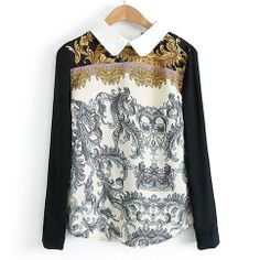 Folk Style Retro Contrast Color Floral Print Long Sleeve Shirt from lilystyle