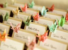 origami crane place cards