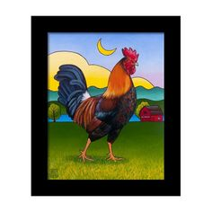 Farm Paintings - Rufus the Rooster by Stacey Neumiller Rooster Painting, Rooster Art, Chicken Painting, Chicken Art, Chicken Pictures, Farm Paintings, Chickens And Roosters, Framed Prints, Canvas Prints