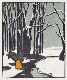 Emil Orlik - Woman Carrying Wood In Winter, 1903