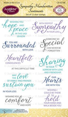 Sympathy Handwritten Sentiments Clear Stamps