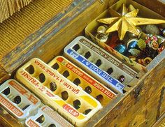 use egg cartons to store delicate Christmas decorations.  If they can keep your eggs safe your ornaments are safe too.