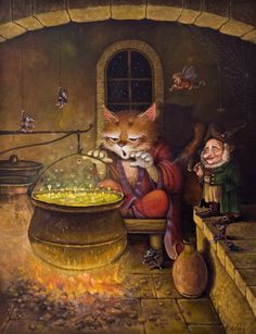 The perfect Cat Witch Potion Animated GIF for your conversation. Art And Illustration, The Magic Faraway Tree, Trolls, Kobold, Beautiful Gif, Beautiful Pictures, Fairytale Art, Graphics Fairy, Animation