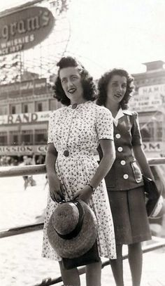 c.1940s women on the beach boardwalk summer dress suit white hat found photo print war era hair vintage style fashion