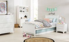 Gorgeous girls bedroom with just the right amount of cute, with furniture pieces that will grow with her into teen and young adulthood. Pieces pictured available at Forty Winks.