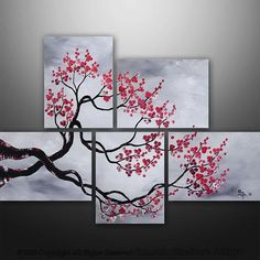I found 'CUSTOM PAINTING Abstract Modern Landscape Tree Asian Zen Art by Gabriela 44x32 black white red' on Wish, check it out!