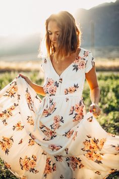 Free People: All I Got Printed Maxi Dress in Ivory Combo