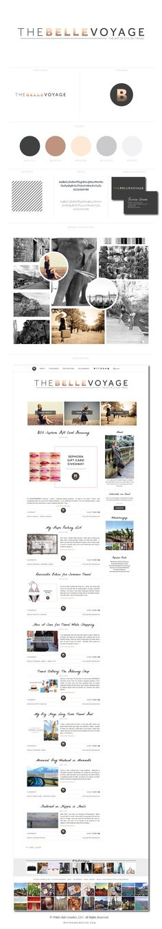The Belle Voyage WordPress Blog Design  love the contrast with the metallic