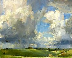 Oliver Akers Douglas-April Skies, Bilbury Rings, 2012 - I love the trees in the foreground that give perspective! Abstract Landscape, Landscape Paintings, You Draw, Paintings I Love, 2d Art, Oeuvre D'art, Love Art, Painting Inspiration, Painting & Drawing
