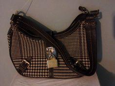Ralph Lauren Plaid Check Shoulder Purse Handbag Bag Zipper Small Lock Brown #RalphLauren #shoulderorclutchbag