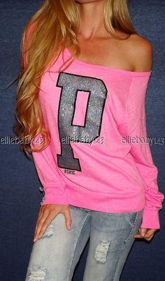 Victorias Secret VS PINK Off Shoulder BLING Raglan Tee T-Shirt Crewneck Top XS