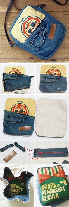 Tutorial: Recycled jeans messenger bag with Zipper. Idea to sew!  http://www.handmadiya.com/2015/11/bag-from-recycled-old-jeans.html
