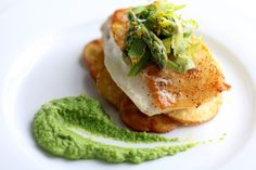 Pan Seared Sea Bass with Basil-Pea Puree and Crispy Parm Potatoes | nataliesdailycrave.com