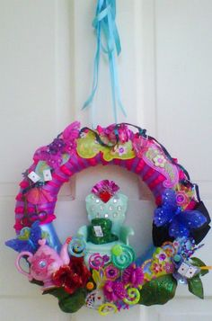 Alice in Wonderland inspired wreath