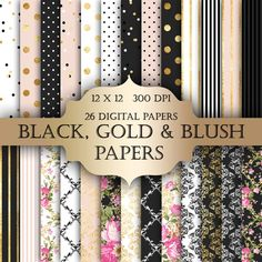 Gold Foil Shabby Chic Digital Papers black gold by ItGirlDigital Digital Scrapbook Paper, Digital Paper Free, Papel Scrapbook, Scrapbook Supplies, Free Paper, Scrapbook Pages, Digital Papers, Craft Supplies, Shabby Chic Background
