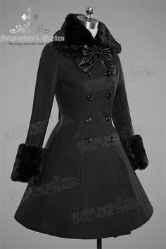 55b0a252e0f7 Fan Plus Friend Elegant Gothic Lolita Dolly Black Double Breated Wool Coat  w Fur Gothic