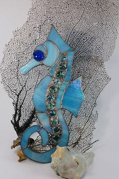 Items similar to Handmade Stained Glass Turquoise Blue Seahorse Wall Hanging Aquatic Window Ocean Suncatcher Underwatwer Caballo de mar on Etsy Sea Glass, Halloween Ideas, Stained Glass, Tiffany, Turquoise, Island, Wall, Handmade, Home Decor