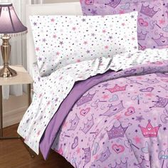Shop for Dream Factory Stars and Crowns Full Bed in a Bag with Sheet Set. Get free delivery On EVERYTHING* Overstock - Your Online Kids Bedding Store! Get in rewards with Club O! Twin Bedroom Sets, Teen Girl Bedrooms, Kids Comforter Sets, Beige Bed Linen, Purple Bedding, Luxury Bedding Collections, Bed In A Bag, Purple Bags, Pink Purple