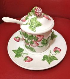 Vintage Made in Italy Strawberry Porcelain Jam Jar, Saucer & Spoon - EXQUISITE