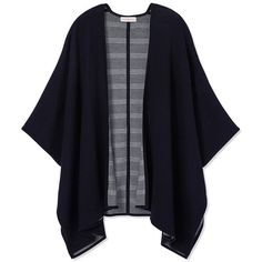 Tory Burch Merino Reversible Poncho found on Polyvore featuring outerwear, cardigans, jackets, kimonos, navy blue, lightweight poncho, merino wool poncho, tory burch, striped poncho and wrap poncho