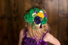 Shabby Chic Mardi Gras Feather Headband New by LaBandeauxBowtique