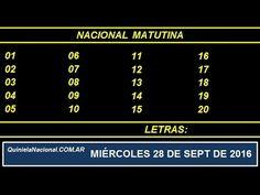 Video Quiniela Nacional Matutina Miercoles 28 de Septiembre de 2016 Pizarra del sorteo desarrollado en el recinto de Loteria Nacional a las 14:00