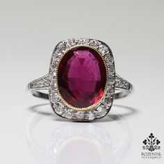 Antique Art Deco Platinum Diamond & 2.8ct. Tourmaline (GIA Certified) Ring
