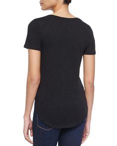 Short-Sleeve V-Neck Slub Jersey Tee, Black