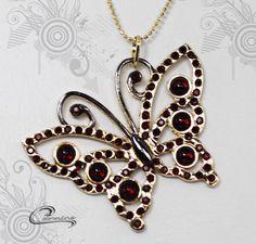 Joias Carmine - borboleta Caliméria com aplique de rodio negro