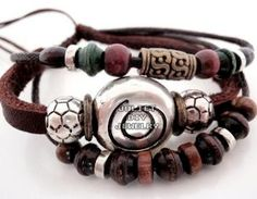 Swirl bead multi strand leather beaded bracelet: I love things old, things that have lovely soft worn in look to them, as if they were a precious item that had been passed down for generations.  All my