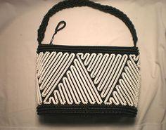 Vintage Telephone Cord Purse 1940's Black White Plastic Coil Handbag | eBay