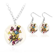 $6.99 - Death or Glory Pendant and Earring Set in Mother of Pearl