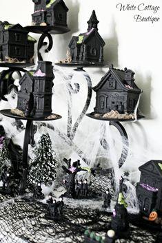 DIY Super Cute Dollar Tree Halloween Village - White Cottage Boutique | White Cottage Boutique