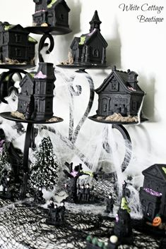 diy halloween mantle trees craft christmas villages or and trees