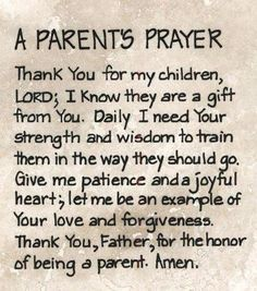 A Parents prayer.